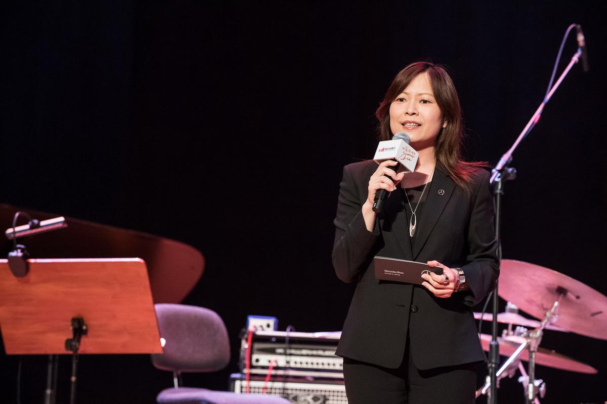 台灣賓士公共關係部陳允若協理表示,未來台灣賓士會繼續鼎力支持台灣藝文盛事,引進更多國際級音樂巨擘,將爵士熱情在台灣延續下去.jpg