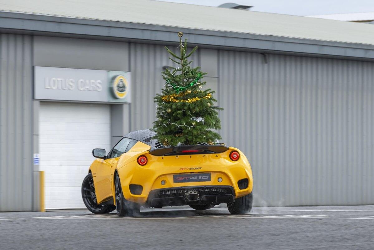 DriftmasEvora Lotus GT410 Sport rear with Christmas tree.jpg