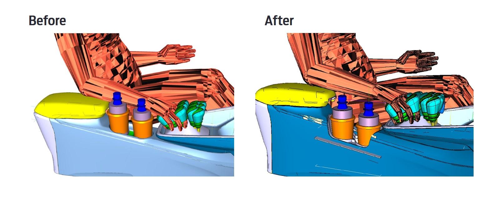 【圖五】Ford的設計團隊降低了置杯架的位置、擴大置杯架的寬度,以確保能夠容納各種尺寸的容器,同時不妨礙駕駛者進行換檔的動作。.jpg